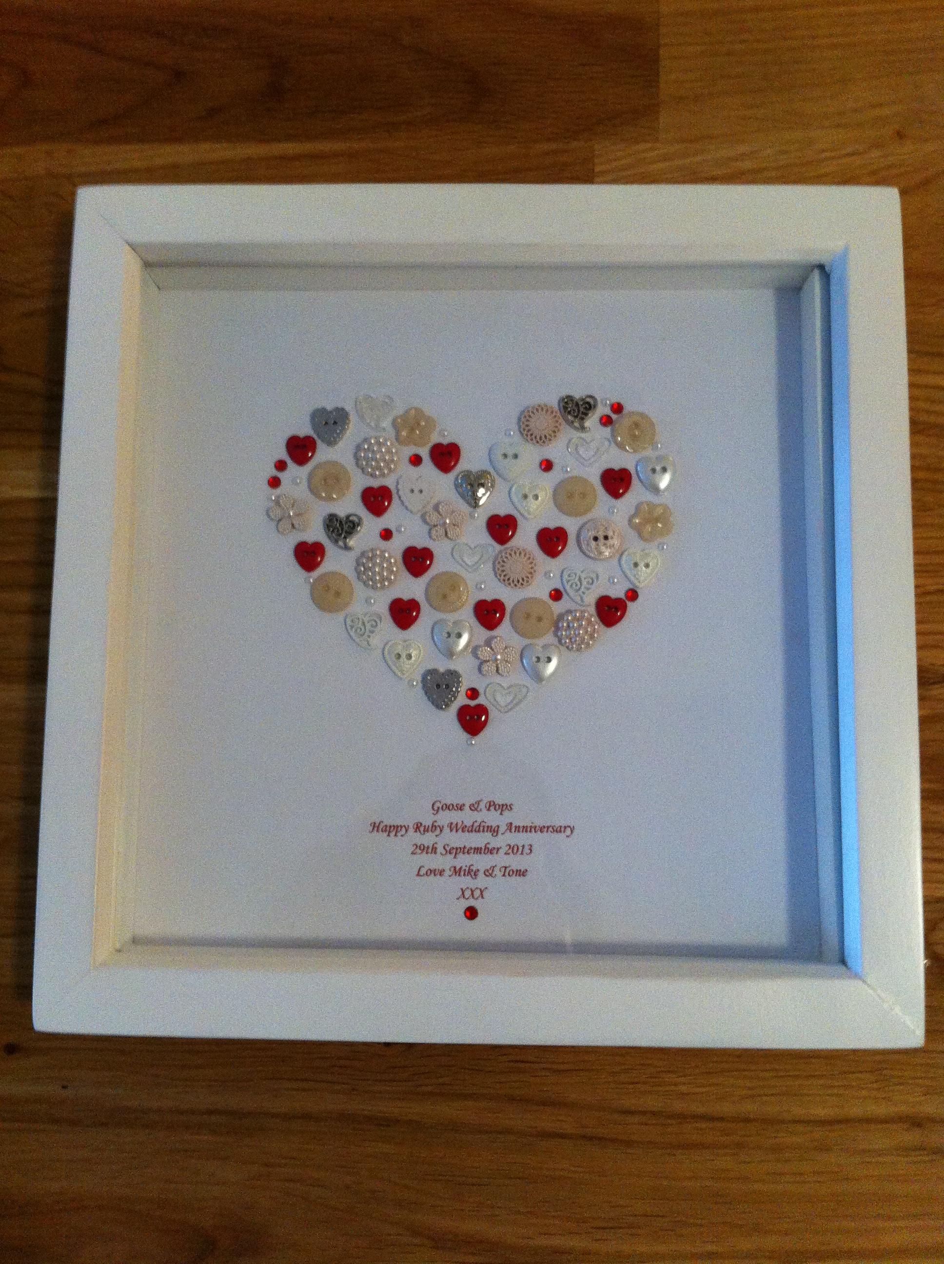 ruby wedding anniversary button frame tenderlovingcraft. Black Bedroom Furniture Sets. Home Design Ideas